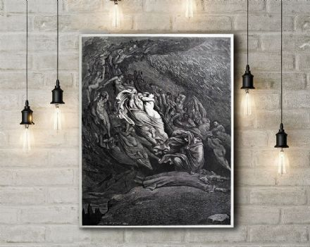 Gustave Dore: Fell to the Ground. Fine Art Canvas.